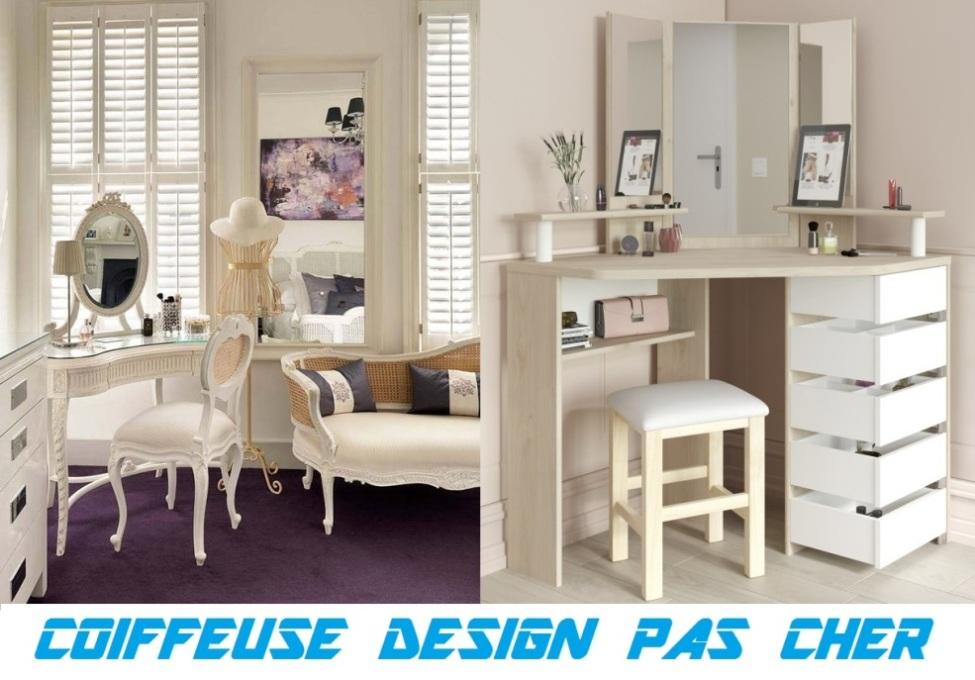 coiffeuse meuble design pas cher coiffeuse blanche moderne d 39 angle vintage avec miroir led. Black Bedroom Furniture Sets. Home Design Ideas