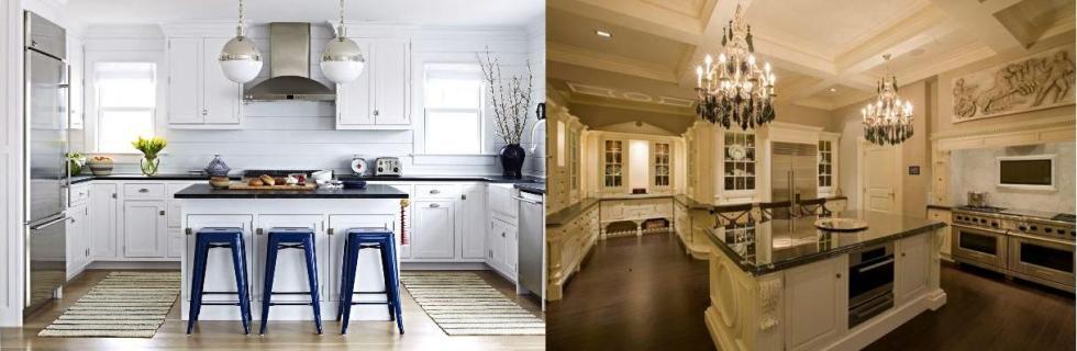 Cuisine americaine design pas cher ilot central de luxe moderne avec table escamotable coin - Cuisine americaine blanche ...