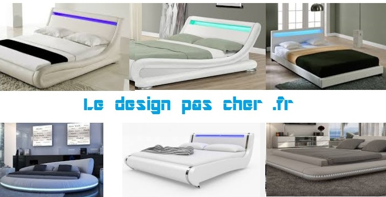 Lit design pas cher discount cuir blanc design led contemporain - Lit design led pas cher ...