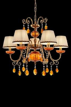 lustre-cristal-orange-et-metal-dore-antique-design-pas-cher