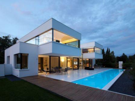 maison de luxe d architecte cubique avec piscine